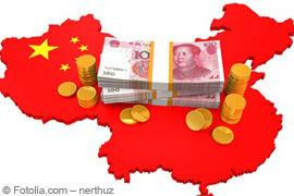 Chinesischer Yuan und China Landkarte