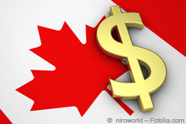 Kanada-Flagge und Dollar