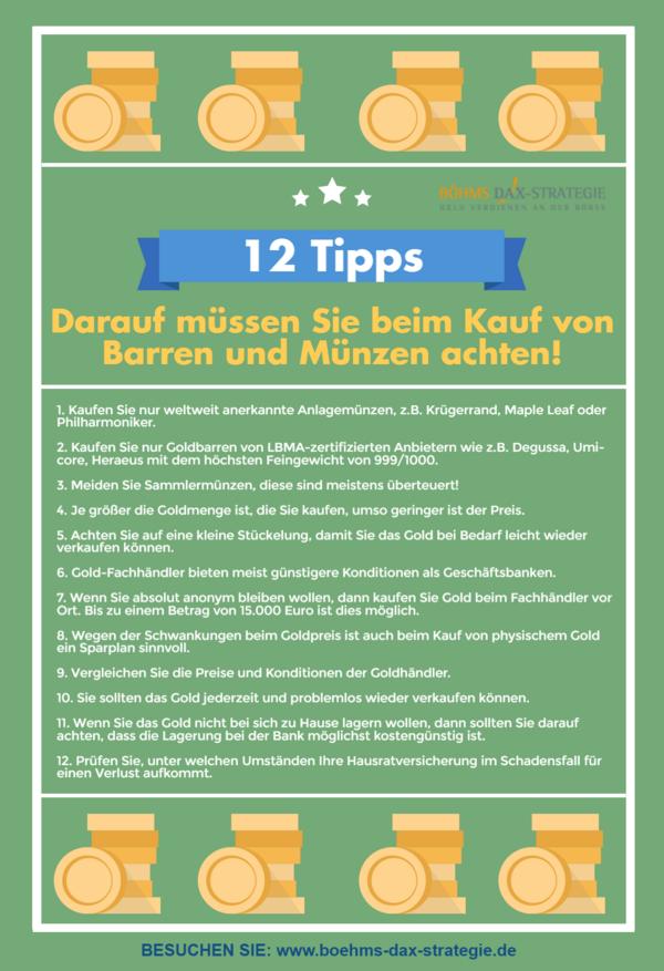 12 Tipps Für Den Goldbarren Und Goldmünzen Kauf Böhms Dax Strategie